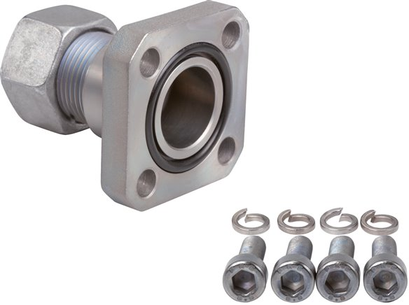 Straight flange screw joints with square flange connection