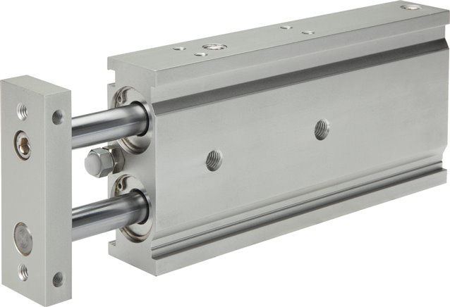 Double piston cylinder with guide, EXSM