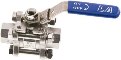 "3-piece stainless steel ball valve, G 1/2"", PN 63 (KH 123 ES E)"