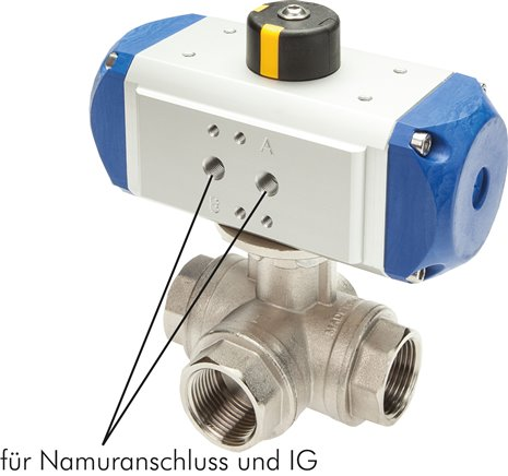 3-way ball valves with pneumatic rotary actuator, PN 40