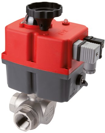 3-way ball valves with electric rotary actuator, PN 40