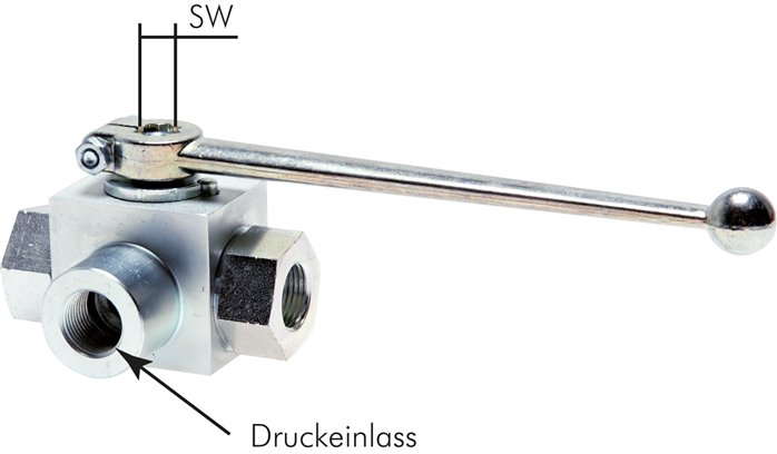 High-pressure 3-way ball valves, up to 500 bar