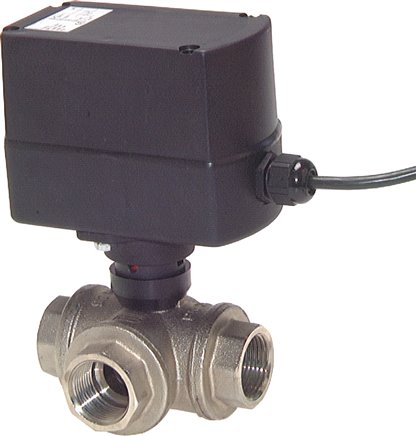 3-way ball valves with electric rotary actuator (sanitary version), PN 63  (will be discontinued)
