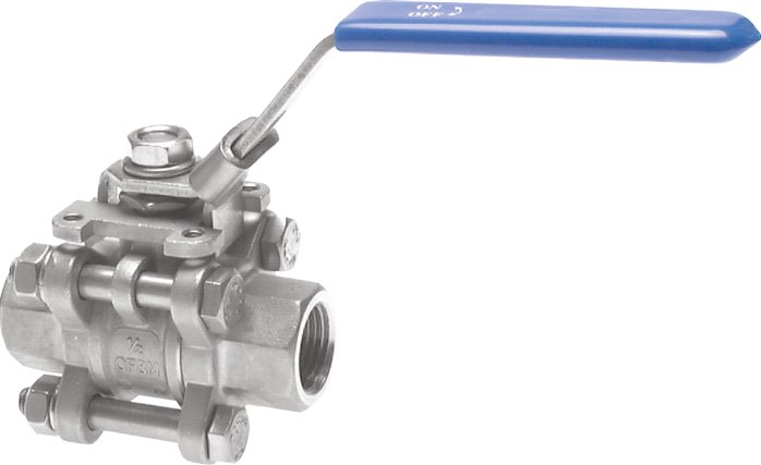 "3-piece stainless steel ball valve, G 1/4"", PN 63 (KH 143 ES E)"