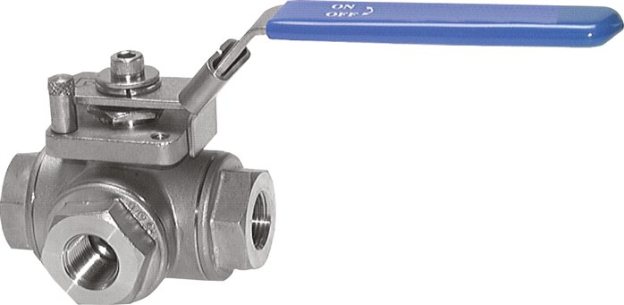 Stainless steel 3-way ball valves, up to 63 bar