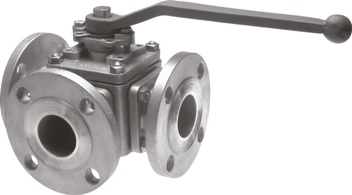 Stainless steel 3-way flanged ball valves, full bore, PN 16