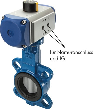 Butterfly valves with pneumatic rotary actuator, PN 10/16