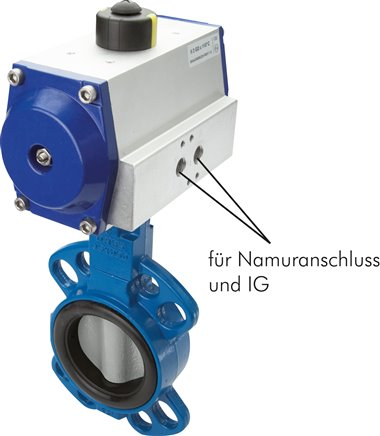 Butterfly valves with pneumatic rotary actuator, PN 20