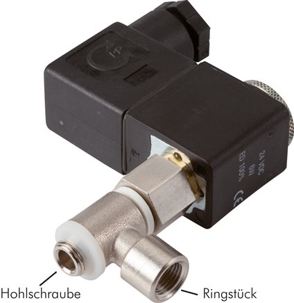2/2-way & 3/2-way banjo bolt solenoid valves with female thread, NW 1.3