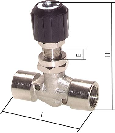 Needle shut-off valves with bulkhead threads for panel mounting, PN 18