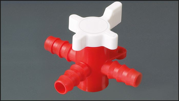 3-way hose valves (T borehole) made of PE, PN 1