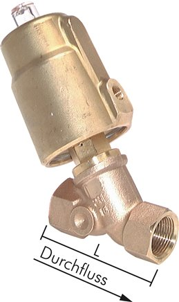 Angled poppet valves, pneumatically actuated
