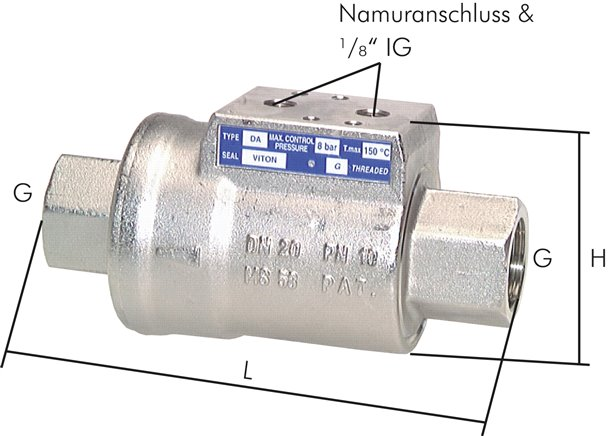 Shut-off valves, pneumatically activated, PN 10