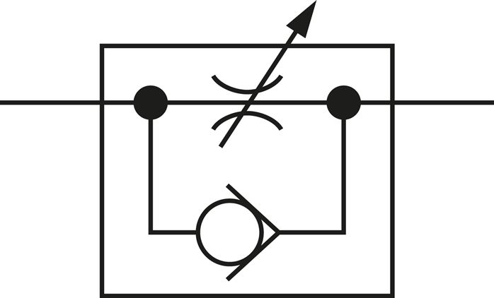 Schematic symbol: Flow control silencer